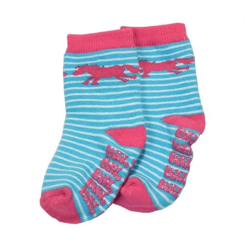 LazyOne Infant Socks with Horse Stripe design